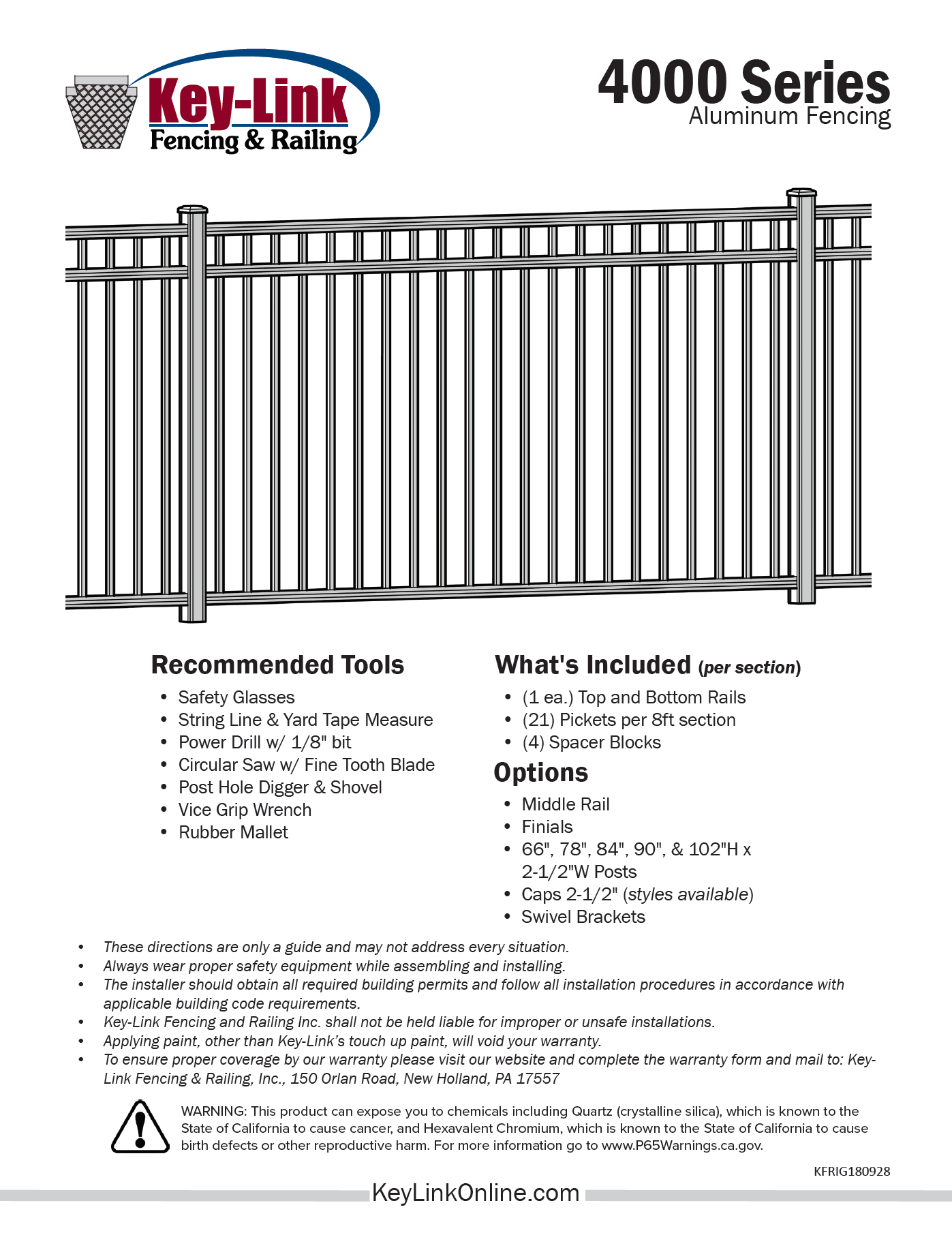 Key-Link Fencing & Railing Downloadable Resources